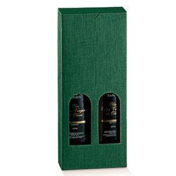 Scatole confezioni Petit 2 Bottiglie Seta verde 110x55x240mm 10pz