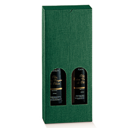 Scatole confezioni Petit 2 Bottiglie Seta verde 130x65x320mm 10pz