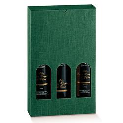 Scatole confezioni Petit 3 Bottiglie Seta verde 200x65x320mm 10pz