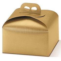 Scatole confezioni Porta Panettone Seta oro 240x240x130mm 10pz