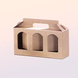 Scatole confezioni Porta Vasetti 3 Fori Onda avana 250x85x100mm 10pz