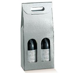 Scatole confezioni Scatola 2 Bott. Seta argento 180x90x400mm 10pz