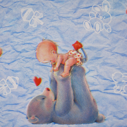 Carta regalo Kid and bear, 70x100cm, Light blue