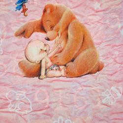 Carta regalo Kid and bear, 70x100cm, Pink
