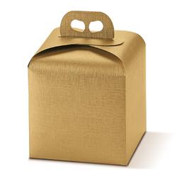 Scatole confezioni Porta Panettone Seta oro 200x200x180mm 10pz