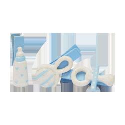 Pick e accessori bomboniere MOLLETTINE NASCITA AZZURRO  3,5x1,5 CM BSX6PZ